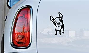 Dog Boston Terrier Version 1 Car Vinyl Sticker Decal Bumper Sticker for Auto Cars Trucks Windshield Custom Walls Windows Ipad MacBook Laptop and More (Black)