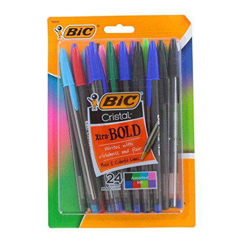 Bic Cristal Xtra Bold Stick Ballpoint Pens, 1.6mm, Bold Point, Assorted Colors, Pack of 24 supplier