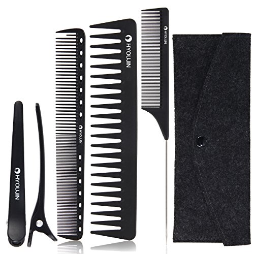 Professional Styling Comb (HYOUJIN Black Carbon Professional Styling Comb Set with Clips Hairdresser Barber Comb Set 5pcs)