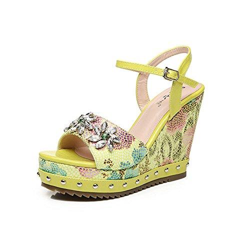 Sandals Amazing Summer Female Wedges Open Toe Platform High Heel (Color : Pink, Size : EU38/UK5.5/CN38) Yellow