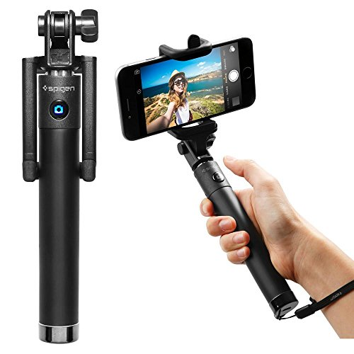 Spigen Velo S520 Selfie Stick New Generation Bluetooth Selfie Stick with Remote Shutter for iPhone X / 8/8 Plus / 7/7 Plus/Galaxy S9 S9 Plus Note 8 / S8 / S8 Plus/Pixel 2 and More - Black