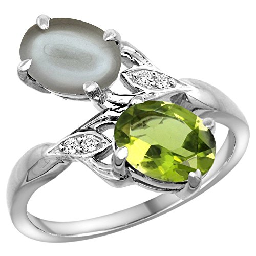 10K White Gold Diamond Natural Peridot & Gray Moonstone 2-stone Ring Oval 8x6mm, size - Ring Gray Oval