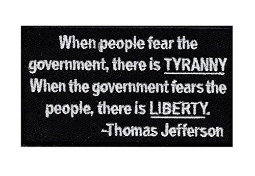 Tyranny Liberty 2nd Amendment Thomas Jefferson Hook Fastener Patch (3.5 X 2.0-TJP-7) (Thomas Jefferson Patch)