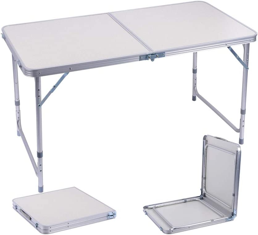 Sunflo Mesa Plegable portátil de 122 cm de aleación de Aluminio Ajustable para Interiores y Exteriores, Mesa de Comedor, manivela portátil para Picnic, Camping, Barbacoa