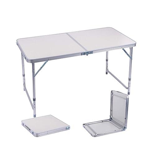 Sunflo Mesa Plegable portátil de 122 cm de aleación de Aluminio Ajustable para Interiores y Exteriores, Mesa de Comedor, manivela portátil para ...