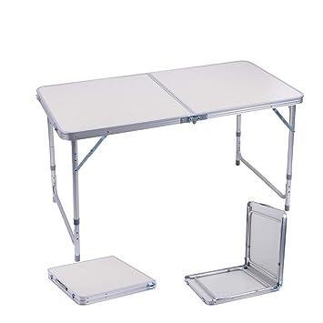 Sunflo Mesa Plegable portátil de 122 cm de aleación de Aluminio Ajustable para Interiores y Exteriores, Mesa de Comedor, manivela portátil para Picnic, ...
