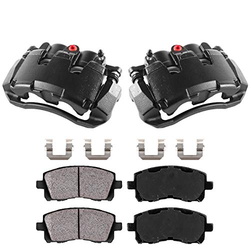 Callahan CCK05306 [2] FRONT Black Performance Brake Caliper Pair + Ceramic Pads + Hardware [ for Dodge Dakota Ram 1500 ]