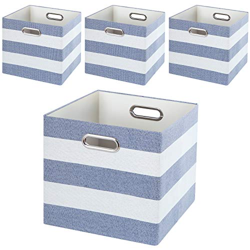 (Posprica Storage Basket Bins,11×11 Collapsible Storage Cubes Fabric Drawers for Nurseries,Offices,Closets,Home Décor (4pcs, Blue-White Striped) )