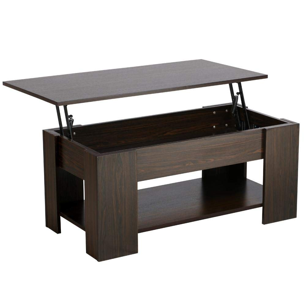 Yaheetech Adjustable Lift Top Coffee Table - with Hidden Storage Compartment for Living Room Espresso by Yaheetech