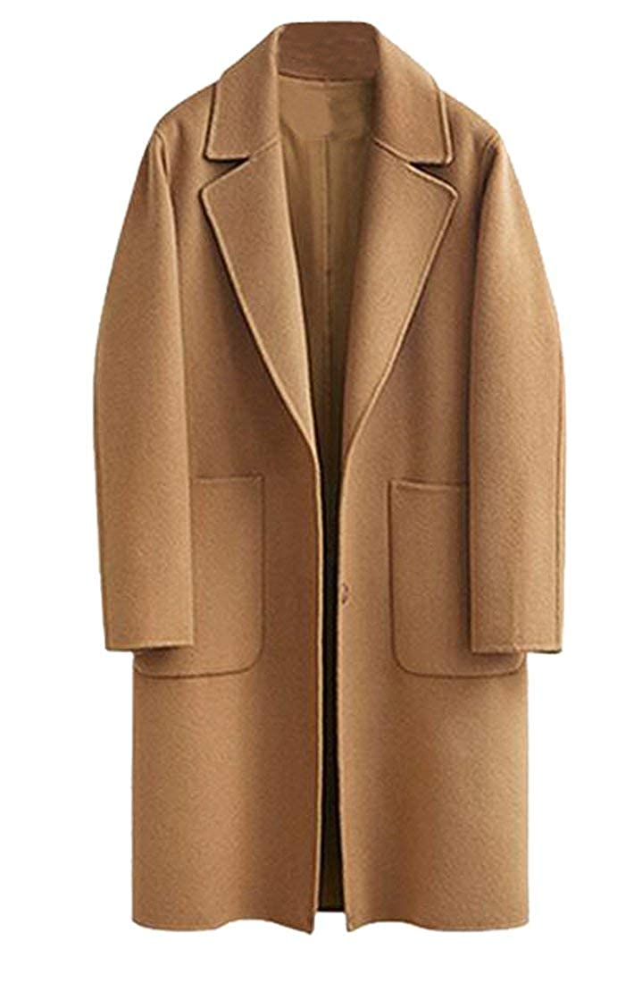 MK988 Womens Plus Size Open Front Long Wool Blended Pea Coat Overcoat
