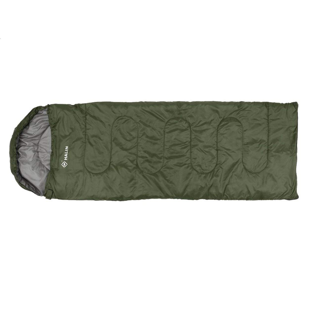 Halin Outdoor Envelope Sleeping Bag Portable Warm Cozy Camping Hiking Hooded Sleeping Bag with Storage Bag HS205