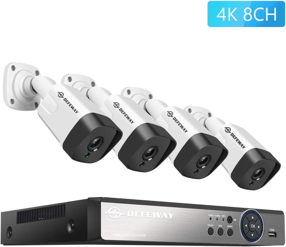 DEFEWAY 4K Security Camera System, 8CH 8MP Video DVR 2TB Hard Drive with 4 x 4K Ultra HD 8-Megapixel Outdoor IP67 Weatherproof Bullet Security Cameras, 130ft Night Vision, Remote Monitoring