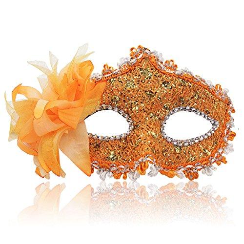 Masquerade Mask for Women Venetian Masks Christmas Women Flower Half-face Masks Eye mask Cosplay Lace mask (Orange) -
