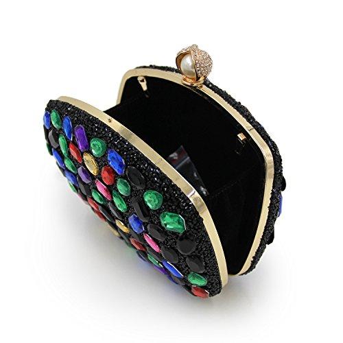 De Negro De De Noche Embragues De De Color Diamante Bolsas Colores Partido Para Color Cadena Las Púrpura Deslumbrante Y Carteras Mujeres Flada PaHq1I