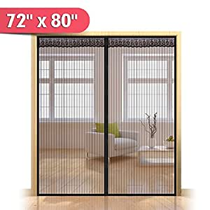 72 w x 80 h hands free magnetic screen door for french - 30 x 80 exterior door with pet door ...