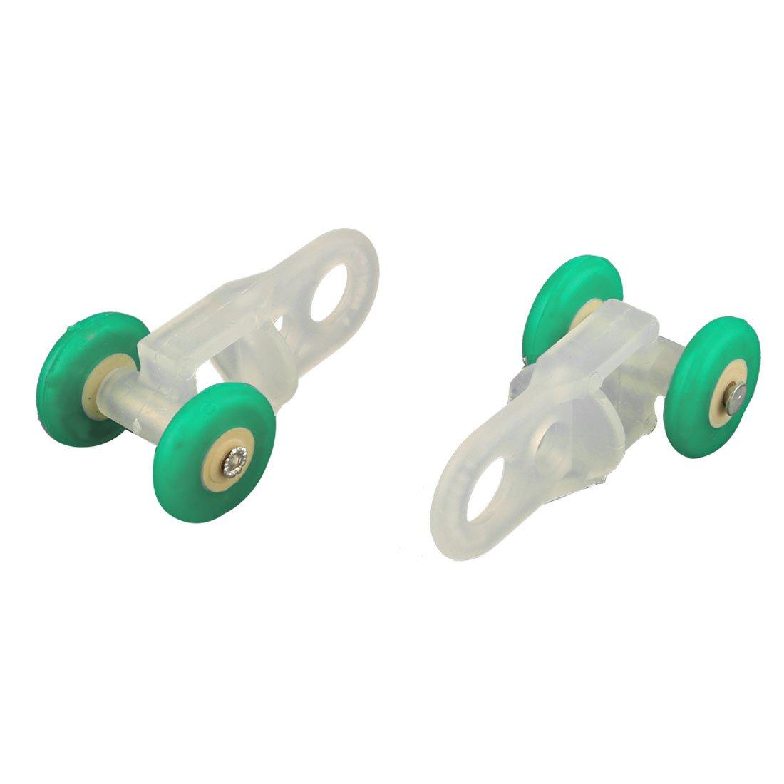 uxcell a15102300ux0836/rodillo pl/ástico cortina Planeador Track Carrier Slide Ruedas 25pcs verde blanco