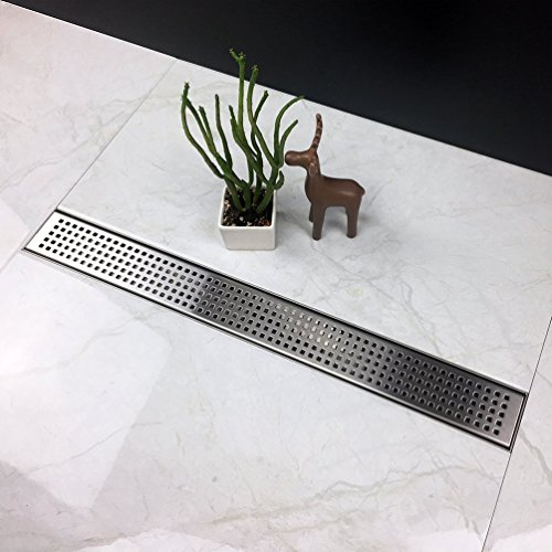 Neodrain Linear Shower Drain with Removable Quadrato Pattern Grate, 48-Inch, Brushed 304 Stainless Steel, With WATERMARK, CUPC Certified by Neodrain