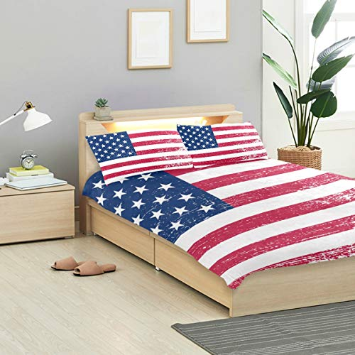 VANKINE Grunge Duvet Cover Set Grunge American Flag Flag USA Design Bedding Decoration Twin XL Size 3 PC Sets 1 Duvets Covers with 2 Pillowcase Microfiber Bedding Set Bedroom Decor Accessories ()