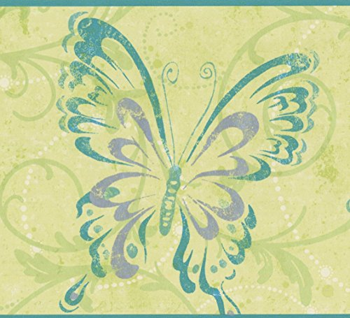 Butterflies in Abstract Style with Damask Green Vine Scrolls Olive Wallpaper Border for Kids, Roll 15