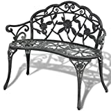 UBAYMAX Premium Outdoor Patio Garden Bench Frame Park Yard Backyard Porch Furniture (Cast aluminum back/seat/armrest + cast iron legs)
