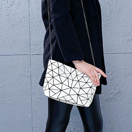 w Design Geometric Shoulder White Stylish Chain Draizee amp; Metal Handbag qHpwAxfO