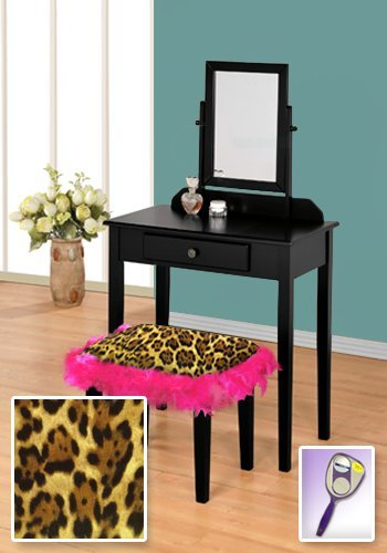 New Black Wooden Make Up Vanity Table with Mirror & Leopard Animal Print Themed Bench With Hot Pink Feather Style Skirt Around Seat! by The Furniture Cove