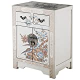 NES Handmade Furniture Antique Style White End Table with Nature Motifs