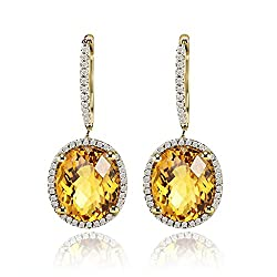Diamond Citrine Drop Earrings