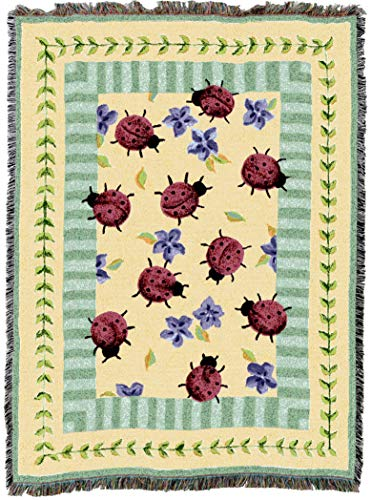 Pure Country Weavers | Lady Bug Garden Woven Tapestry Throw Blanket with Fringe Cotton USA 72x54 from Pure Country Weavers