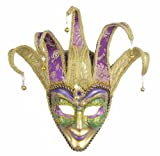 Forum Deluxe Mardi Gras Face Mask, Green/Gold/Purple, One Size