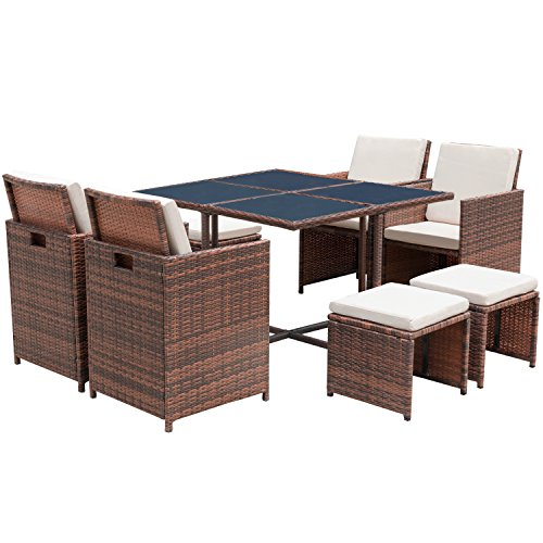 Flamaker 9 PCS Patio Set Cushioned PE Wicker Dining Set Sectional Conversation Set Rattan Outdoor Furniture Space Saving Furniture with Ottoman (9 ()