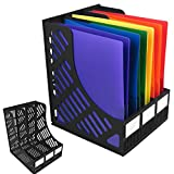 Evelots Magazine & Literature File Holder Display, 6 Compartment Total, Set of 2