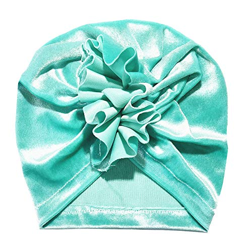 Hongxin Baby Indian Wrap Cap,Gold Velvet Boy Girl Floral Pleuche Knotted Warm Solid Beanie Headwear Cap (H, 0-2 Years Old Baby) (Gift For 1 Year Old Baby Girl Indian)