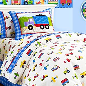 Olive Kids Trains Planes and Trucks Cotton Duvet Cover, Twin