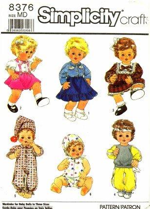 Simplicity 8376 Sewing Pattern Tiny Tears Baby Dolls Wardrobe