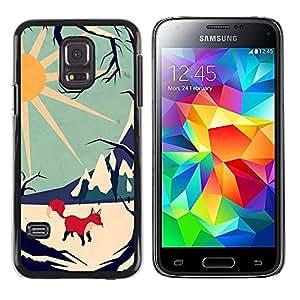 LECELL--Funda protectora / Cubierta / Piel For Samsung Galaxy S5 Mini, SM-G800, NOT S5 REGULAR! -- Fox Sun Stylish Winter Mountains --