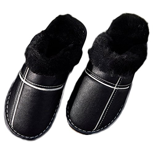 Ciabattone Fodera In Pelliccia Caldo Antiscivolo Comode Pantofole Casa Indoor Suola Morbida Nera