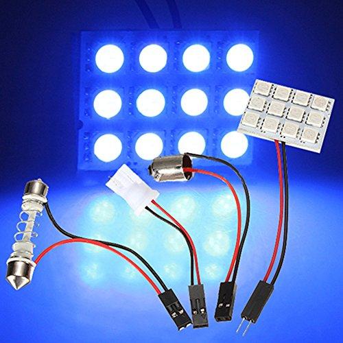 9/12/15/20/24/48 5050 SMD Car LED Panel Dome Light Lamp + T10 BA9S Festoon Adapter (12 SMD 5050 Blue)