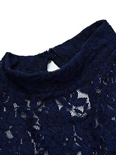 Femmes Élégantes Dentelle Crochet Patchwork Creux À Manches Courtes Bleu Marine Robe Moulante