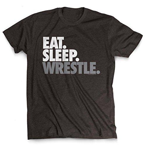 Eat Sleep Wrestle T-Shirt | Wrestling Tees by ChalkTalkSPORTS | Charcoal | Adult X-Large