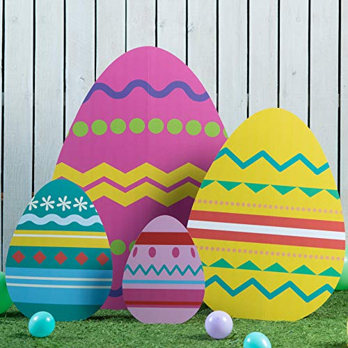 1 ft. 6 in. to 4 ' Easter Egg Standee Set Standup Photo Booth Prop Background Backdrop Party Decoration Decor Scene Setter Cardboard Cutout -