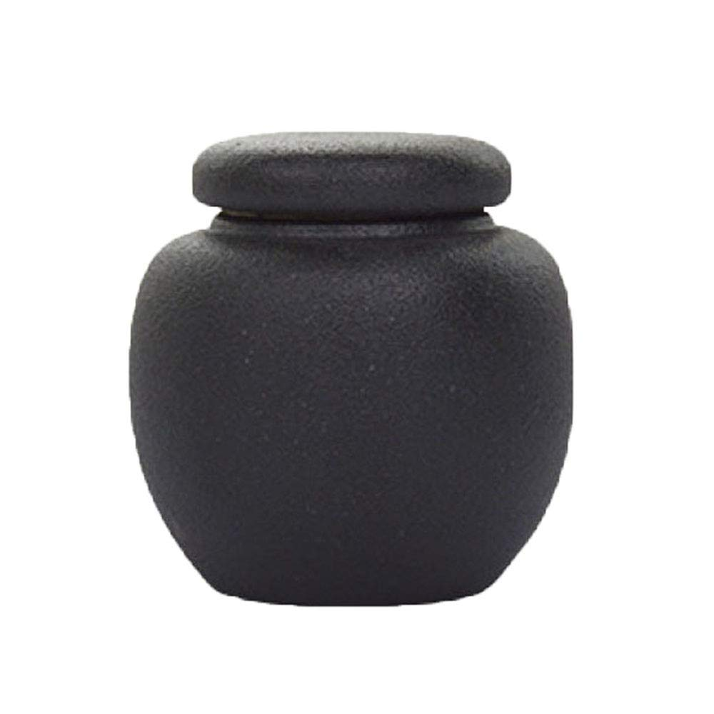 Black Small Urns for Ashes Keepsake and Mini Cremation Urns for Ashes Adult Ceramic & Hand Engraved Display Burial Urn at Home or Office
