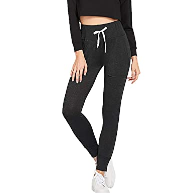 b7f0ca1b35 HEJANG Women's Yoga Sports Elastic Waist Drawstring Workout Athletic  Leggings Exercise Trousers Running Pants Pocket 2019