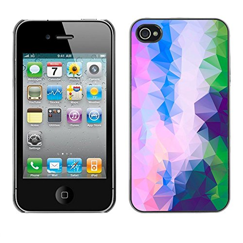 ( Pink Purple Polygon Art ) APPLE iPhone 4 / 4S Hard Printing Protective Cover Protector Sleeve Shell Case Cover