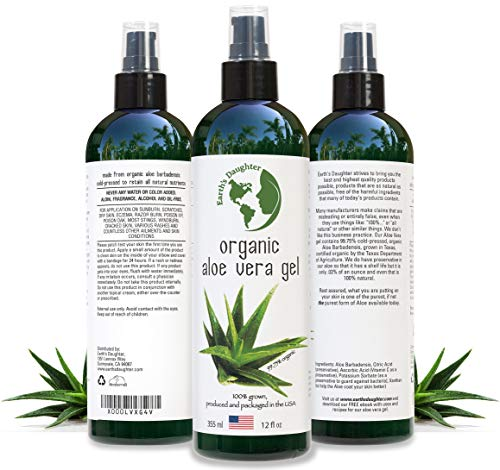 Aloe Vera Gel - 99.75% Organic, 12 oz Great for Face, Hair, Acne, Sunburn, Bug Bites, Rashes, Eczema ()