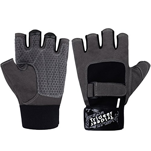 Trideer Workout Gloves Full Palm Protection Extra Grip Gym