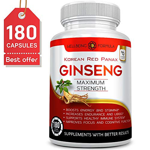 180 Capsules-Korean Red Panax Ginseng Extract-1000mg High Ginsenosides Extra Strength Red Ginseng Root Powder-Natural Energy & Performance Enhancement Pills-Sexual Wellness Supplements for Men & Women Wellbeing Formula