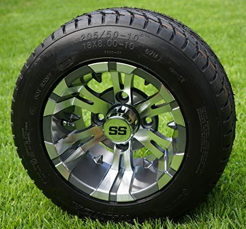10″ Vampire Gunmetal Wheels and 205/50-10 Golf Cart Tires- Set of 4
