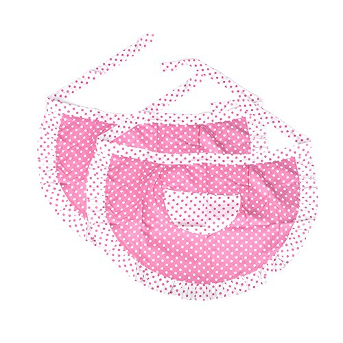 (Price/2 PCS) Opromo Lady's Cotton Polka Dot Waist Aprons with Pocket, 28 3/4
