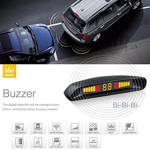 Amazon.com: UltiSmart(TM)Steelmate Ebat C2 Parking Assist System LED Display 4 Sensors Car Parking Sensor Reverse Radar Car Detector Alert System: GPS & ...